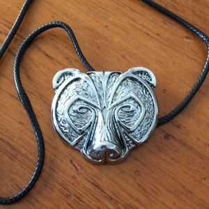 Other - 🆕🎁 Bear Head Pendant & Black Cord Necklace